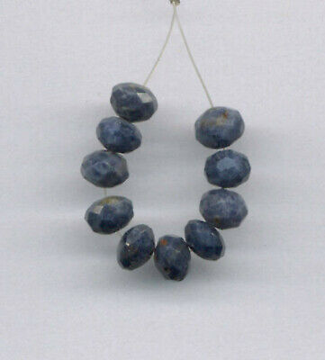 Ten (10) Faceted Sapphire 6Mm Rondelle Beads  - 940
