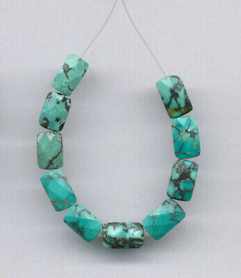 """FACETED HUBEI CLOUD MOUNTAIN TURQUOISE RECTANGLE BEADS - 3.5"""" Strand - 2112"""