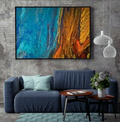 Original abstract painting Hawaii red blue fire ice canvas acrylic art glow dark