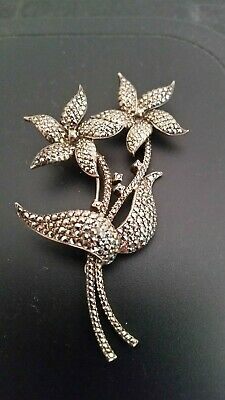 Vintage Silver and Marcasite Broach