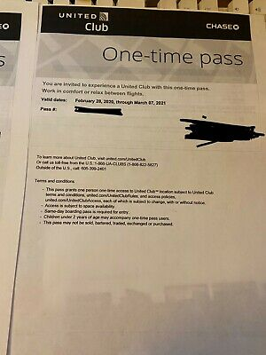2 Passes for United Club One Time Pass EXP 3/7/2021 E-pass or printed