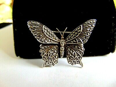 Beautiful Sterling silver 925 sterling Sterling Silver Antiqued Marcasite Butterfly Pin
