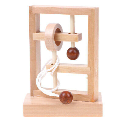 IQ rope wooden puzzle logic brain teaser string puzzles game for adults kids AF