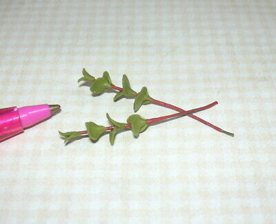 2 Miniature SMALL Green Leaves on RED Stems DOLLHOUSE Miniatures 1:12 Scale
