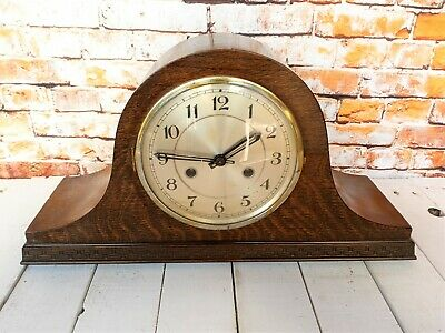 Early 20th century oak Napoleon hat mantle clock with 8 day movement (working)