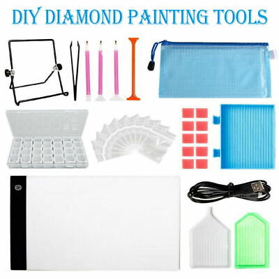 117PC Diamond Painting Tools DIY Art Craft+LED Pad Light Board/&Stand Holder