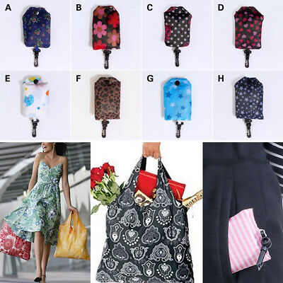 1 x Reusable Foldable Shopping Bag Eco Tote Handbag Tartan Floral in Pouch Clip