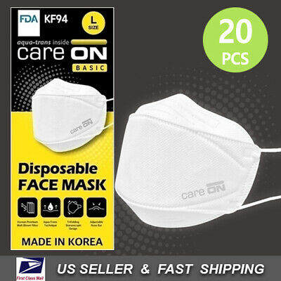 [CARE-ON] Disposable Face Mask KF94 Protective Mask [Made in Korea] 20 PCS