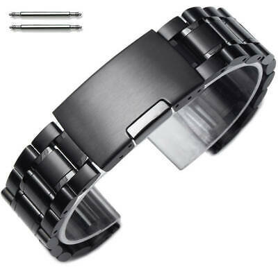 Steel Metal Bracelet Replacement Watch Band Strap PVD Black Push Button #5016
