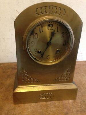 Antique Ansonia Brass Mantle Clock Brass Dial With Key