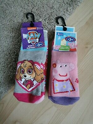Peppa Pig  And Paw Patrol Slipper Sock Size 3-5.5