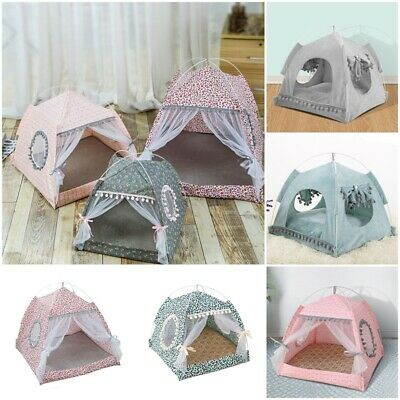 UK Pet Cat Kitten Small Dog Teepee House Spring Breathable Tent Cave Bed Kennel