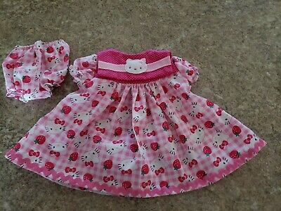 """VINTAGE CHATTY CATHY 18-20/"""" NEW HANDMADE W//LOVE 2 PC STRAWBERRIES/&CHECKS  OUTFIT"""
