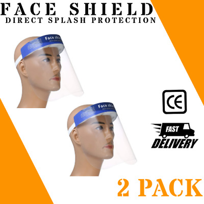 2 PACK Safety Full Face Shield Clear Protector Work Industry Dental Anti-Fog