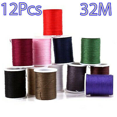 12 x 32M POLYESTER COTTON SEWING THREAD YARN SPOOL REEL MIXED ASSORTED COLOUR UK