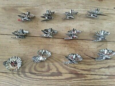 12  Vintage German ball tilt Christmas Tree Metal Clip Candle Holders & candles