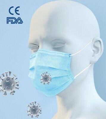 1 BOX OF 50BLUE PROTECTIVE MASK 99% FILTER EFFICIENCY- HEALTH-FOOD- BEAUTY&More