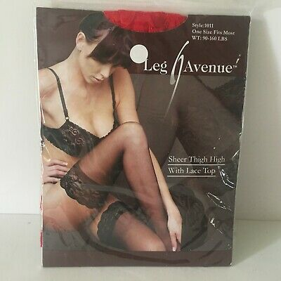 Leg Avenue 1011 One Size Fits Most Lycra Sheer Thigh High Stockings Red Lace NIP