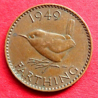 Great Britain Scarce King George Vi 1949 Wren Farthing Coin Birthday - Date Gift