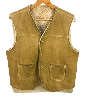 Vintage Tan Suede Leather Sherpa Lined Vest Mens L Snap Buttons Western Cowboy