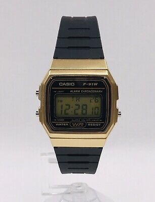 CASIO Casual F91W Classic Alarm Chronograph Model W/R BLACK & GOLD Excellent