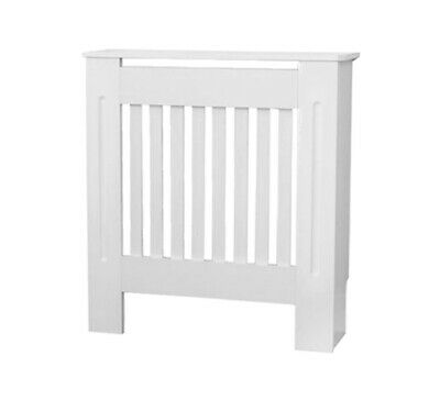 White Radiator Cabinet Cover Furniture MDF Slatted Wood Traditional Shelf Grill