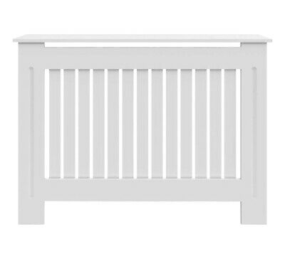 Radiator Cover White Cabinet Slatted Traditional Shelf Grill Furniture MDF Wood