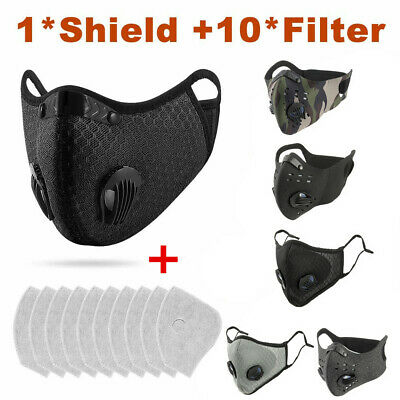 10x Cycling Protective Mouth-muffle Face Shield Haze Fog Mouth Cover With Filter