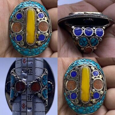 Unique silver lapis lazuli Original coral turquoise amber Lovely Ring