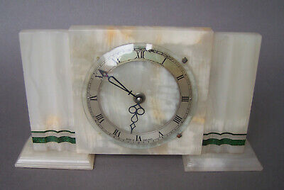 Art Deco Mantle Clock Onyx Mechanical Movement for Spares or Repairs