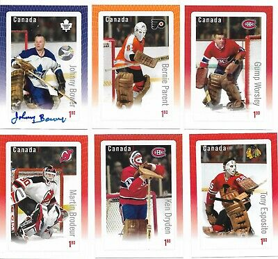 Canada hockey card stamps, set of 6, Sport, NHL, Johnny Bower autograph, 2015