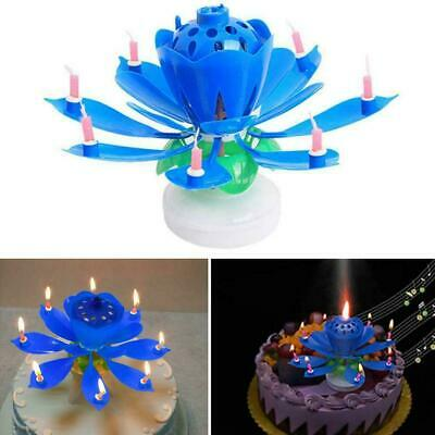 ROTATING Lotus Candle Birthday Flower Musical Floral Cake Candles /&Music U6E6