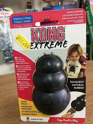 KONG EXTREME BLACK Tough Dog Toy Teething Chew Snack Easy