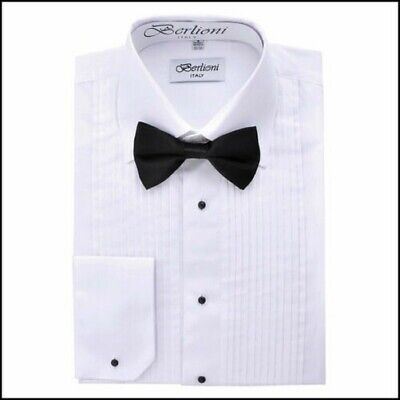 Berlioni Italy Men's Classic Laydown Collar Dress Shirts For All Occasions White