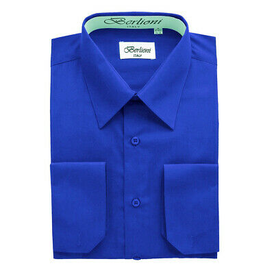 Berlioni Italy Men's Solid Color One Pocket Dress Shirt in Royal Blue