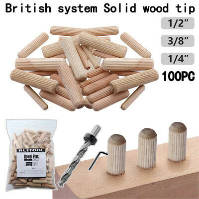 10mm x 60mm HARDWOOD MULTIGROOVE CHAMFERED WOODEN DOWELS FLUTED PINS CRAFT WOOD
