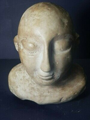 Ancient bactrian rare white stone male bust figure statue