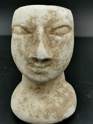 Ancient central asia bactrian mergiana stone prince head statue 2nd millenium bc