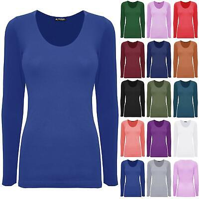 Womens Ladies Scoop Neck Plain Casual Long Sleeves Stretchy Slim Fit T-Shirt Top