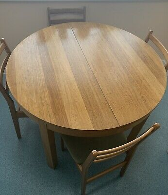 Ikea Extendable Round Dining Table Oak Veneer Extends To Seat 6 Good Condition 85 00 Picclick Uk