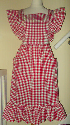 """Frilly 'Red Gingham' Vintage Style Bib Apron/Pinny(24""""loop waist band)"""