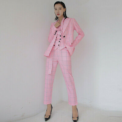 Pink Plaid Formal Pant Suits Weddings Prom Womens Business Female Trouser Suits 55 00 Picclick Uk