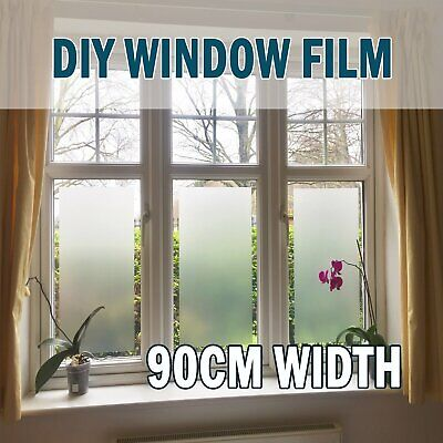 White Frosted Effect Translucent Window Glass Bathroom Privacy Film 1.8mx90cm