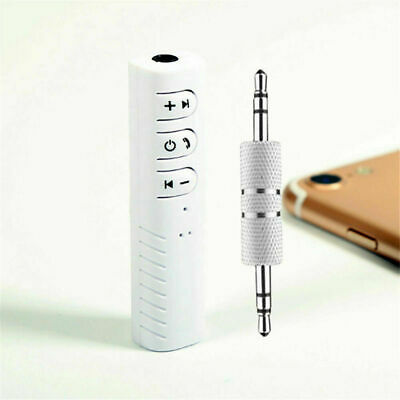 White Wireless Bluetooth Receiver 3.5mm AUX Audio Stereo Music Home Car Adapter