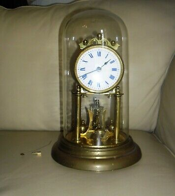 Vintage Antique German Brass Torsion Clock with Glass Dome. For Repair. Wirral