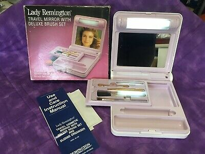 Retro 1980's Travel Mirror And Makeup Case by Lady Remington. Working, As new