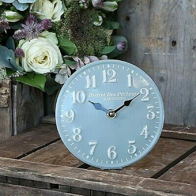 Vintage Style Metal Table Mantle Clock, 15cm - Verte (Blue Grey)