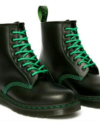 Dr Martens 1460 UNISEX Green Stitch Smooth Black Leather Size UK 7 NEW!