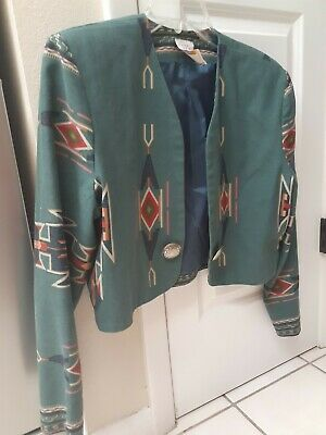 VINTAGE Southwest Aztec Native Cropped Bolero. Jacket with silver concho accents