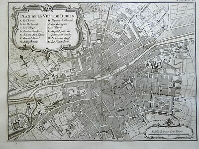 Dublin Ireland detailed city plan St. Patrick's Cathedral 1760 Bellin map